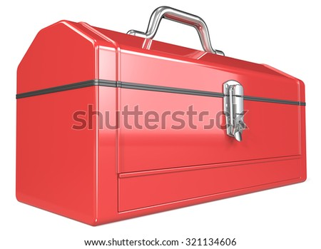 Toolbox. Classic red metal Toolbox. Perspective view. White background.