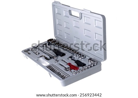 toolbox full of tools isolated o white  - stock photo