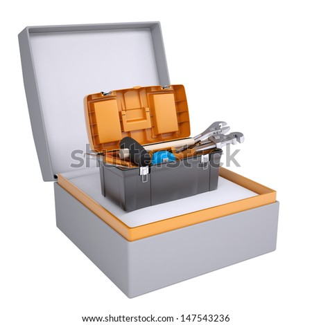 Toolbox in open gift box. 3d render isolated on white background