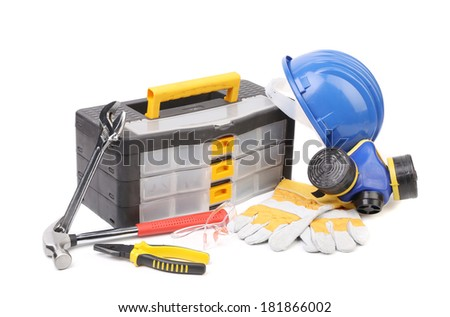 Toolbox pliers and hard hat. Isolated on a white background.