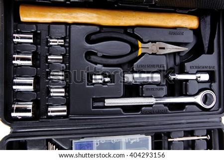 toolbox set of tools include hammer wrench bit driver pliers hex key bush level hex key - stock photo
