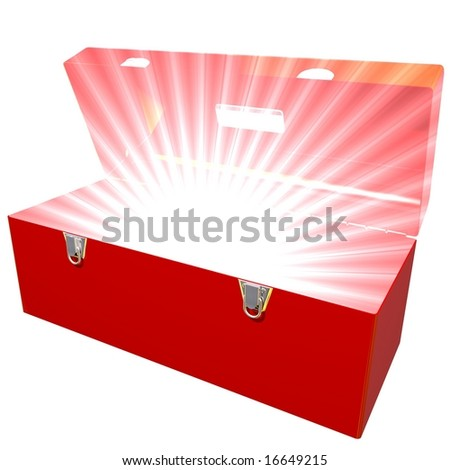 Toolbox with bright light coming from inside - stock photo