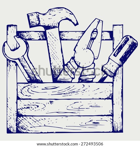 Toolbox with tools. Doodle style. Raster version - stock photo