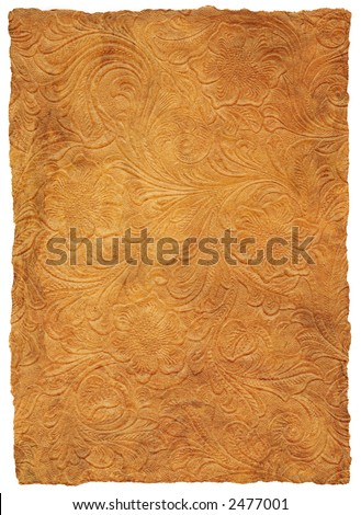 Tooled Leather Floral Scroll - stock photo