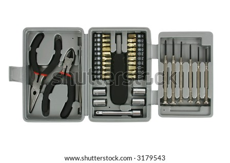 Toolkit with screwdrivers, pliers, wrenches and tweezers. Isolated on white. Clipping path included.