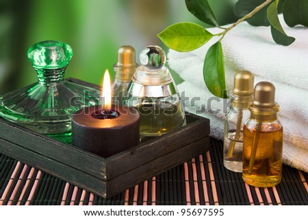 tools and accessories for spa treatments and relaxation - stock photo