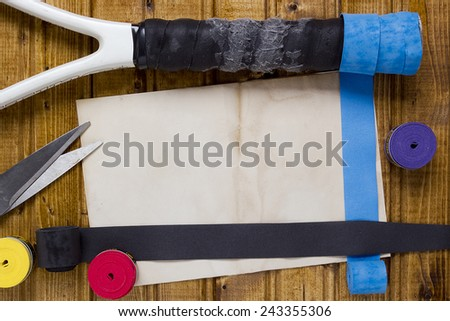 Tools and accessories for the repair of a tennis racket. - stock photo