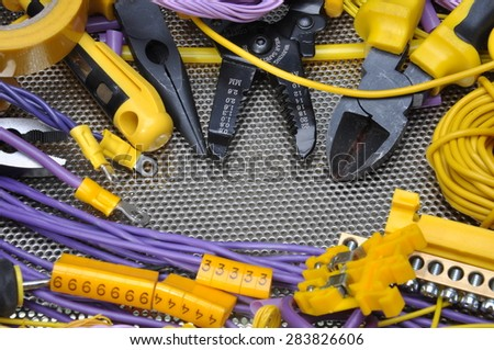 Tools and component for electrical installation - stock photo
