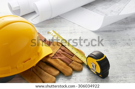 tools and floor plan with shallow depth-of-field - stock photo