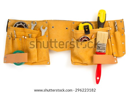 tools and instruments in belt isolated on white background - stock photo