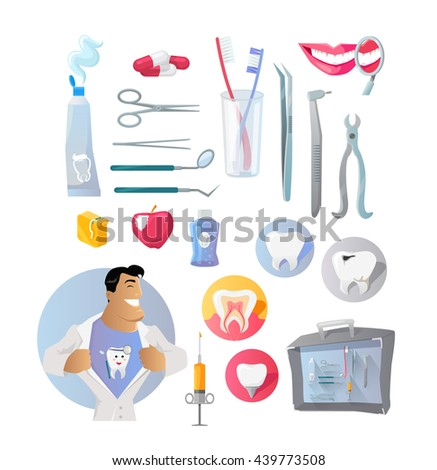 Tools And Items On The Theme Of Stomatology Medical Dentist With Tool Set For Dental