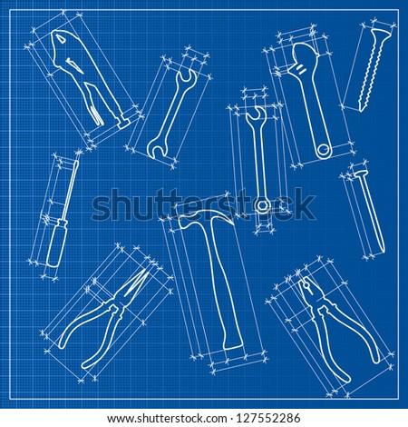 tools blueprint sketch, - stock photo