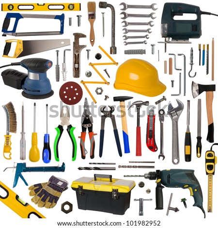 Tools collection isolated on white background - stock photo