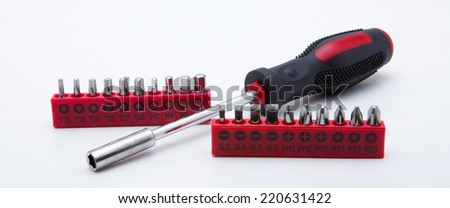 Tools collection - Set of heads for screwdriver (bits). Isolated on white background - stock photo