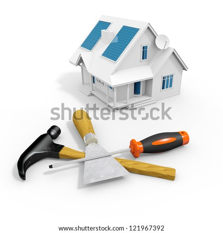 tools for a house renovation. 3d image - stock photo