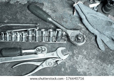 tools for car repair - stock photo