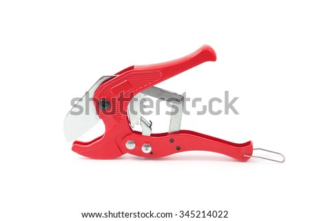 Tools for cutting polypropylene tubes, isolated on a white background. Used to install plumbing and heating pipes made of polypropylene