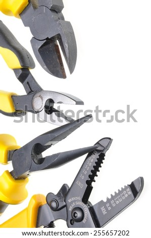 Tools for electrical installation isolated on white background - stock photo