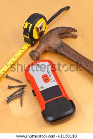 Tools for Finding Wall Studs - stock photo