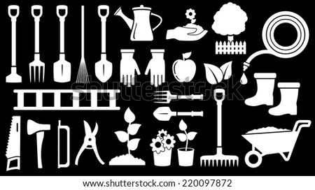tools for gardening work on black background - stock photo