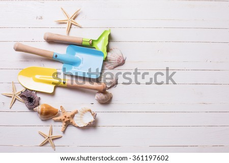 Tools for kids for playing in sand and sea objects on white  painted wooden planks. Place for text. Vacation background. - stock photo