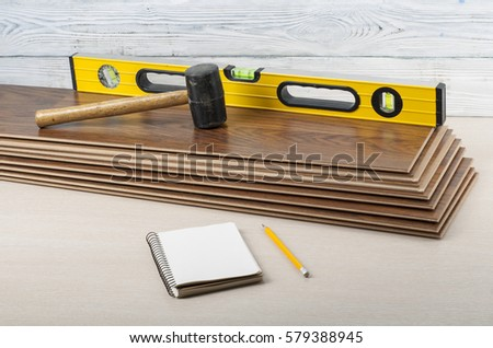 Tools Laying Laminate Flooring Copy Text Stock Photo Edit Now