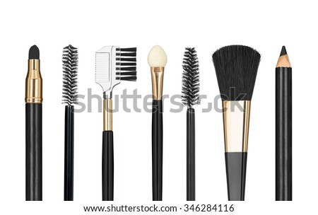 Tools for make-up isolated on white background - stock photo