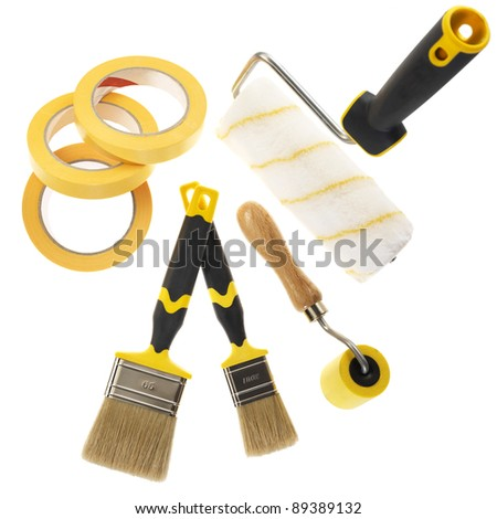 tools for painting and papering (isolated on white) - stock photo