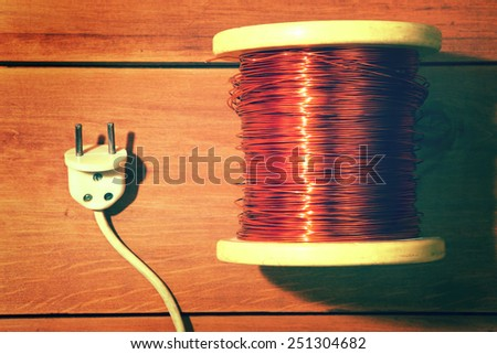 Tools for repair of electricity. Industrial vintage. - stock photo