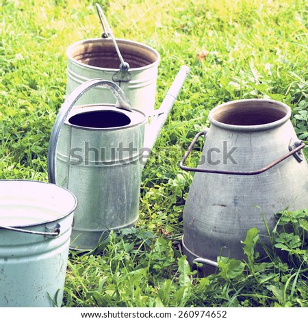 Tools for the gardener.Special toned photo in vintage style - stock photo