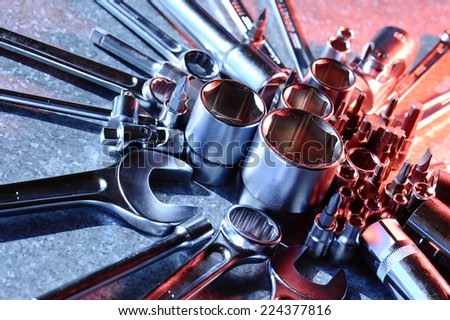 tools for working with nuts and bolts - stock photo