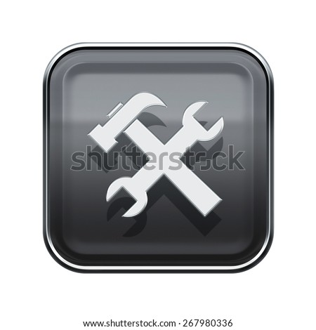 Tools icon glossy grey, isolated on white background. - stock photo