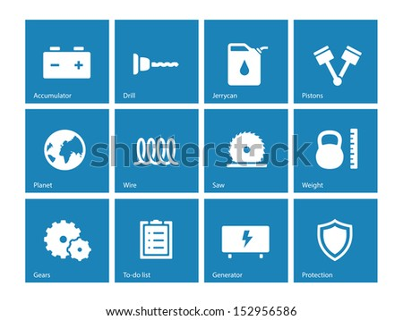 Tools icons on blue background. See also vector version.