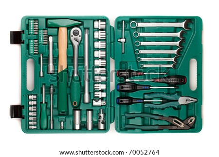 Tools in toolbox. Isolated on white background - stock photo