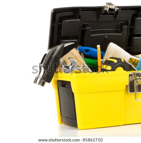 tools in toolbox isolated on white background - stock photo