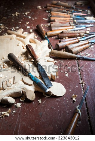Tools of the woodcarver.Chisels for carving. - stock photo