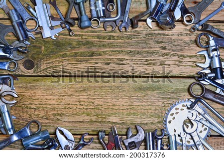 Tools on the wood background - stock photo