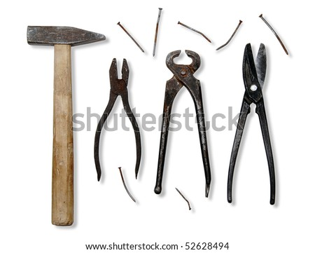Tools on white background. Isolated. - stock photo