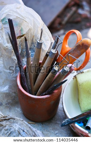 Tools sculpture art pottery. - stock photo