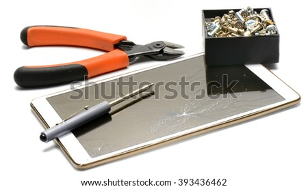 Tools setup for fixing broken Touch Screen - stock photo