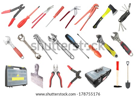 tools under the white background