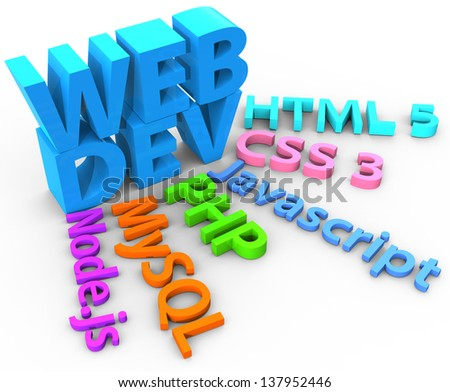 Tools web site development uses HTML CSS SQL PHP with clipping-path - stock photo