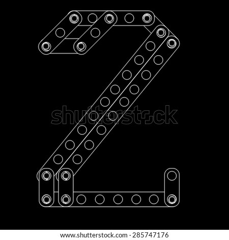 Toon figure with rivets and screws isolated on black background  - stock photo