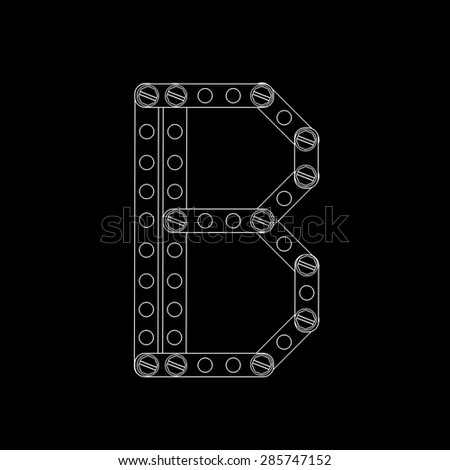 Toon letter (b) with rivets and screws isolated on black background  - stock photo