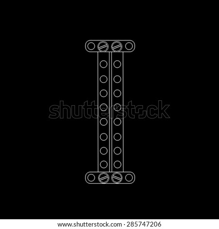 Toon letter (i) with rivets and screws isolated on black background  - stock photo