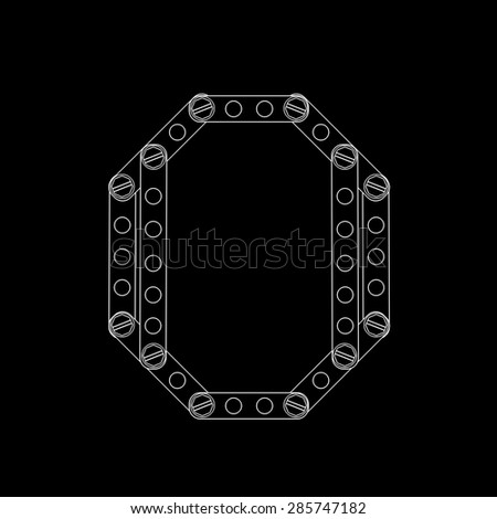 Toon letter (o) with rivets and screws isolated on black background  - stock photo
