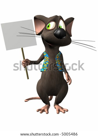 Toon Mouse with sign