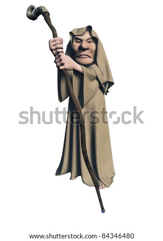 Toon mystic druid character in brown robes carrying a wooden staff, 3d digitally rendered illustration
