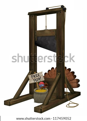 Toon Turkey Guillotine: A cartoon turkey tricked into putting his head into a guillotine with free feed. Isolated on a white background. - stock photo