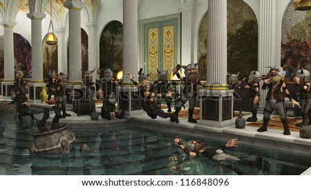 Toon Viking Dwarf Horde partying in a Roman bath house, 3d digitally rendered illustration - stock photo